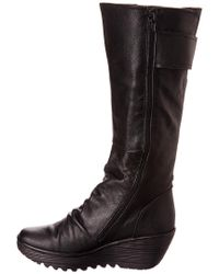 Fly London - Black Yulo Leather Wedge Tall Boot - Lyst