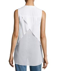 BCBGeneration - White High-low Criss-cross Blouse - Lyst