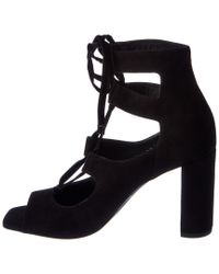 Saint Laurent - Black Loulou 95 Lace-up Suede Sandal - Lyst