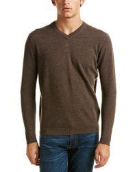 Kinross Cashmere Brown Forte V-neck Cashmere Sweater for men