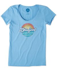 Life Is Good. - Sunny Waves Smooth Tee (powder Blue) Women's T Shirt - Lyst