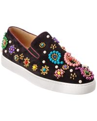Christian Louboutin Black Boat Candy 20 Suede Slip-on Sneaker