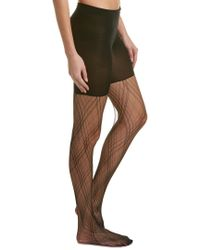 Spanx - Black ® Plaid Lace Tights - Lyst