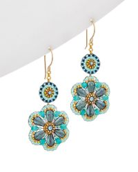 Miguel Ases - Multicolor 18k Plated Crystal Flower Earrings - Lyst