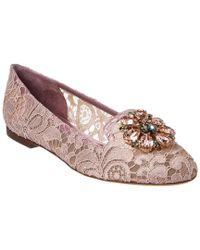 Dolce & Gabbana - Purple Vally Embellished Taormina Lace Slipper - Lyst