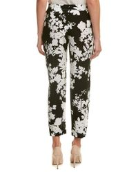 Max Mara - Black Alisso Slim Silk Leg Trouser With Floral Print - Lyst