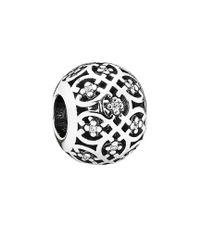 Pandora - Metallic Silver Cz Intricate Lattice Charm - Lyst