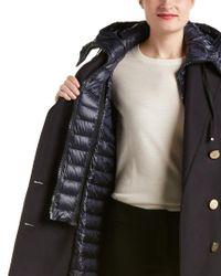 Moncler - Blue Wool-blend Down Coat - Lyst
