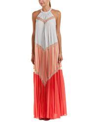 BCBGMAXAZRIA - Gray Alyson Pleated Gown - Lyst