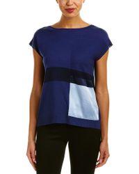 Lafayette 148 New York - Blue Bateau Neck Silk-trim Sweater - Lyst