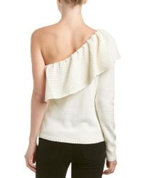 Ella Moss - White One-shoulder Knitted Sweater - Lyst
