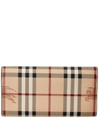Burberry - Natural Halton Haymarket Check Leather Slim Continental Wallet - Lyst