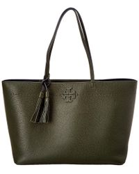 Tory Burch - Green Mcgraw Leather Tote - Lyst