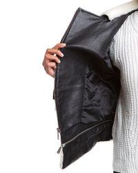 Dawn Levy - 2 Kit Kat Black Faux Shearling Trim Leather Jacket - Lyst