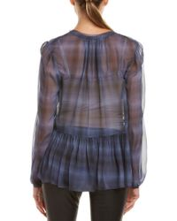Rebecca Taylor - Blue Shadow Plaid Silk Top - Lyst