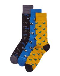 Unsimply Stitched Blue Set Of 3 Sock for men