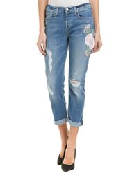 7 For All Mankind - Blue 7 For All Mankind Josefina Botanical Denim Feminine Boyfriend Cut - Lyst