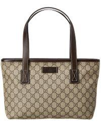 Gucci Brown GG Supreme Canvas & Leather Tote
