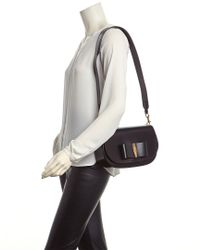 Ferragamo - Black Anna Small Vara Lux Leather Shoulder Bag - Lyst