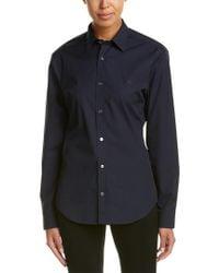 Burberry - Blue Check Detail Stretch Cotton Poplin Shirt - Lyst