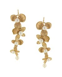 Sparkling Sage - Metallic 14k Plated Resin Floral Drop Earrings - Lyst