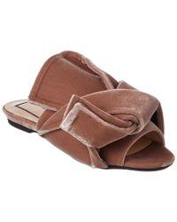 N°21 - Pink No21 Velvet Flat Bow Mule - Lyst