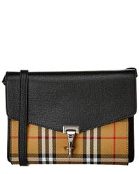 Burberry - Black Small Macken Vintage Check Leather Crossbody - Lyst