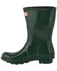 Hunter - Green Women's Original Short Gloss Boot - Lyst