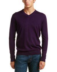 Kinross Cashmere Purple Forte V-neck Silk-blend Sweater for men