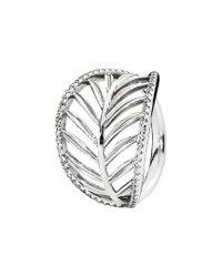 Pandora - Metallic Silver Cz Palm Leaf Ring - Lyst