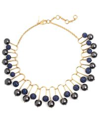 Lele Sadoughi - Blue 14k Plated Hematite & Crystal Statement Necklace - Lyst