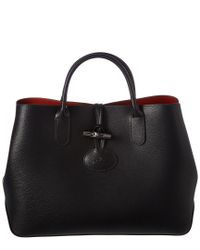 Longchamp - Black Roseau Small Leather Tote - Lyst