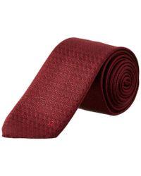 Ferragamo - Red Bordeaux Gancini Silk Tie for Men - Lyst