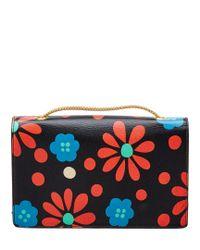 Saint Laurent - Black Mini Betty Floral Leather Crossbody - Lyst