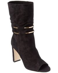 Jimmy Choo Black Mysen Suede Bootie With Metal Chain Detail