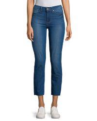 PAIGE - Blue Dylan Raw Hem Straight Jeans - Lyst