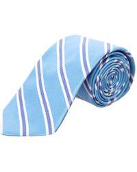 Ike Behar - Light Blue Royal Oak Stripe Silk Tie for Men - Lyst