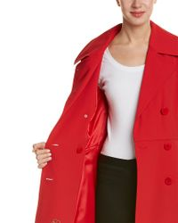 Trina Turk - Red Double Breasted Trench Coat - Lyst