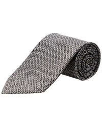 Ferragamo - Black & Silver Horizontal Gancini Silk Tie for Men - Lyst