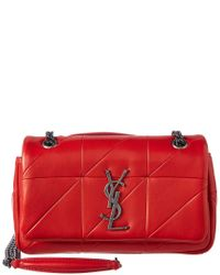 92726cf72eb Lyst - Saint Laurent Jamie Patchwork Small Leather Shoulder Bag in Red