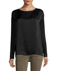 Vince - Black Jersey Mix Ballet Silk Top - Lyst