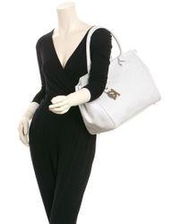 Longchamp - White Leather Satchel - Lyst