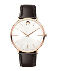 Movado Metallic Ultra Slim Silver Dial Leather Ladies Watch 0607093 for men