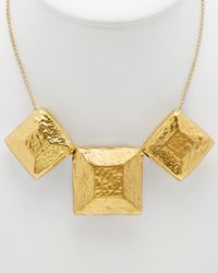 Devon Leigh - Metallic 18k Plated & 14k Plated Hammered Square Necklace - Lyst