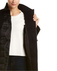 Cinzia Rocca - Black Mixed Media Duffle Wool & Down Coat - Lyst