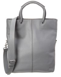 Lyst - Halston Heritage Large Foldover Leather Tote in Gray fb9743298589b