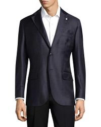 Lubiam - Blue Checkered Wool Sports Jacket for Men - Lyst