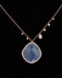 Meira T - 14k Rose Gold 13.12 Ct. Tw. Diamond & Blue Sapphire Necklace - Lyst