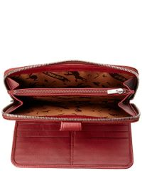 Longchamp - Red Le Pliage Cuir Leather Zip-around Wallet - Lyst