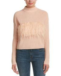Kendall + Kylie | Pink Fuzzy Trim Wool Sweater | Lyst